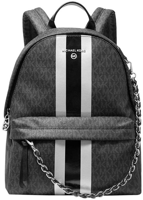 Item - Slater Medium Logo Stripe Shoulder Black/Silver Coated Canvas Backpack