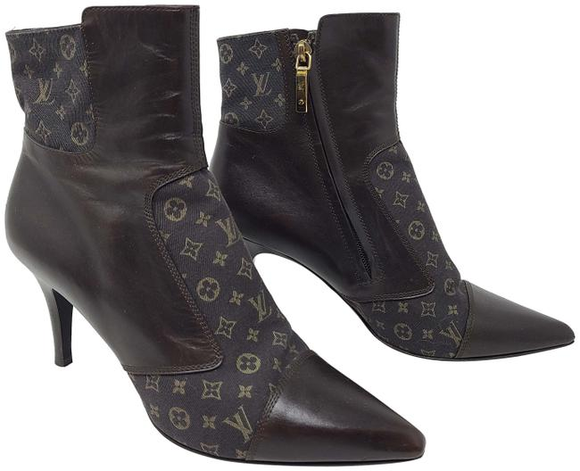 Item - Brown Leather Lv Monogram Canvas Ankle Boots/Booties Size EU 39 (Approx. US 9) Regular (M, B)