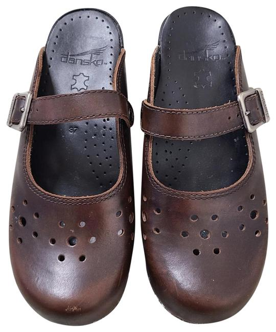 Item - Brown Leather Merrie Mary Janes Mules/Slides Size EU 37 (Approx. US 7) Regular (M, B)