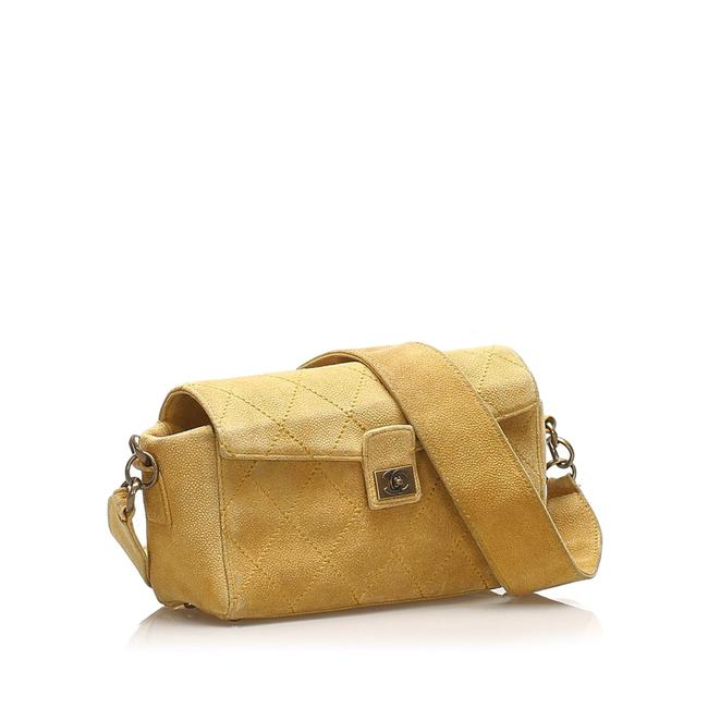 Item - Classic Flap Wild Stitch Suede Yellow Leather Shoulder Bag