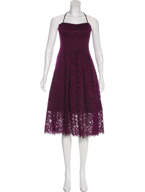 Item - Purple Red Lace Mid-length Cocktail Dress Size 6 (S)