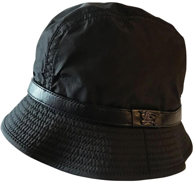 Item - Black Bucket W Nylon W/Leather Strap and Check Lining Hat