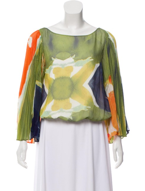 Item - Multicolor Patterned Bell Sleeve Blouse Size 4 (S)