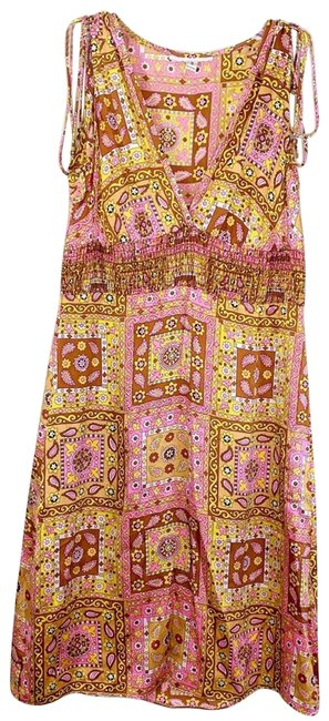 Item - Pink 70's Inspired Paisley Mid-length Short Casual Dress Size 4 (S)