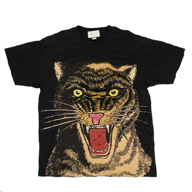 Item - Black XL Cotton Tiger Embroidered Design Over-sized Tee Shirt Size 16 (XL, Plus 0x)