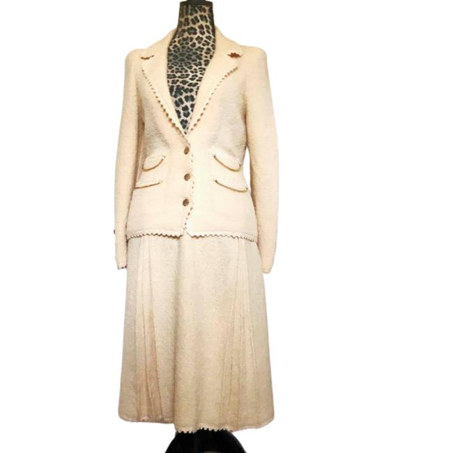 Item - Cream 1980s Vintage New York All Wool Skirt Suit Size 4 (S)