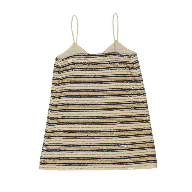 Item - Multicolor Sequin Cream and Striped Mini Slip Dress Halter Top Size 2 (XS)