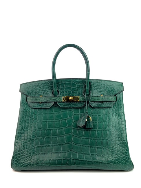 Item - Birkin 35 Vert Titien Green Alligator Skin Leather Gold Hardware Satchel