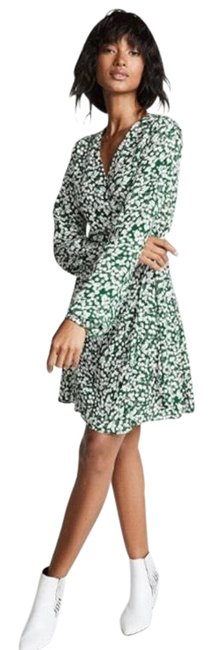 Item - Green White Printed Wrap Short Casual Dress Size 6 (S)