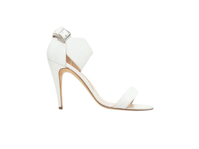 Item - White Leather Ankle Strap Sandals Size US 10 Regular (M, B)