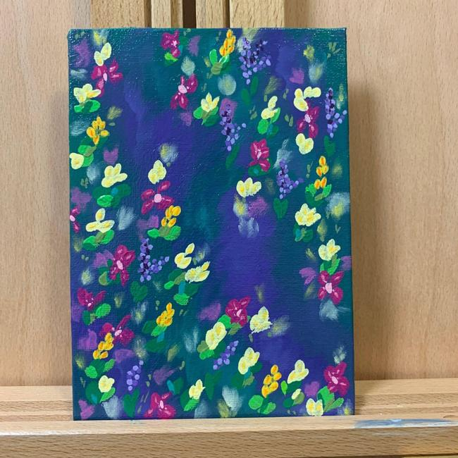 "Item - Purple Scene Flowers Multi-color Floral Painting - 5"" X 7"" Decoration"