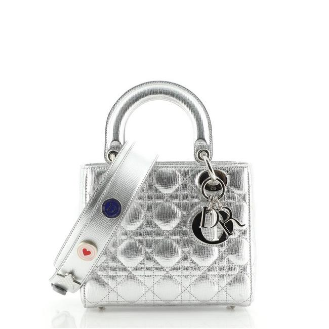 Item - My Lady Cannage Quilted Metallic Silver Leather Cross Body Bag