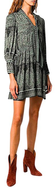 Item - Multi with Tag Tanisha Bishop-sleeve Tie-neck Short Night Out Dress Size 10 (M)
