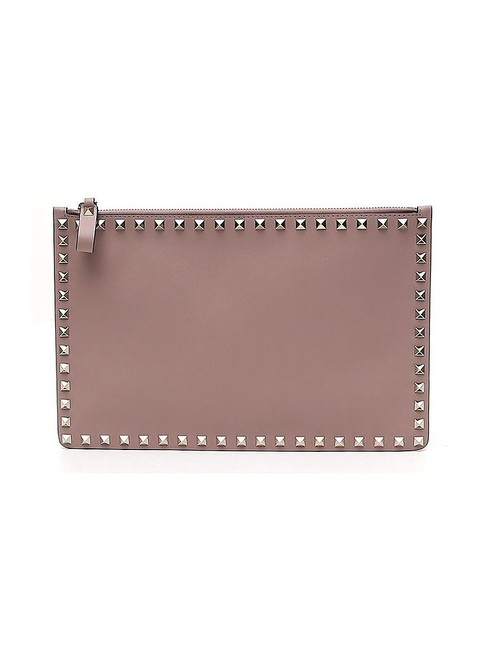Item - Garavani Rockstud Grey Leather Clutch