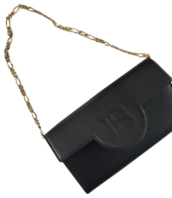 Item - Wallet on Chain Black Leather Clutch