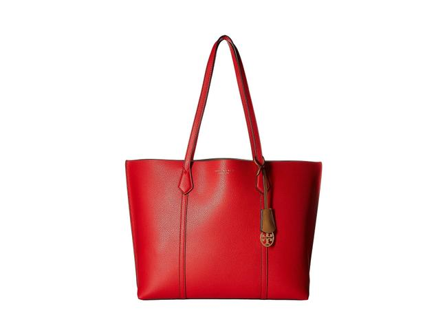 Item - Perry Triple-compartment Brilliant Red/Gold Leather Tote