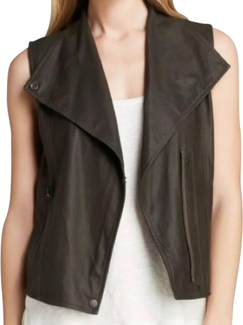 Item - Black Womens Large Moto Military Vest In Suede Leather Jacket Size 12 (L)