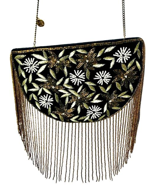 Item - Beaded and Velvet Black Cross Body Bag
