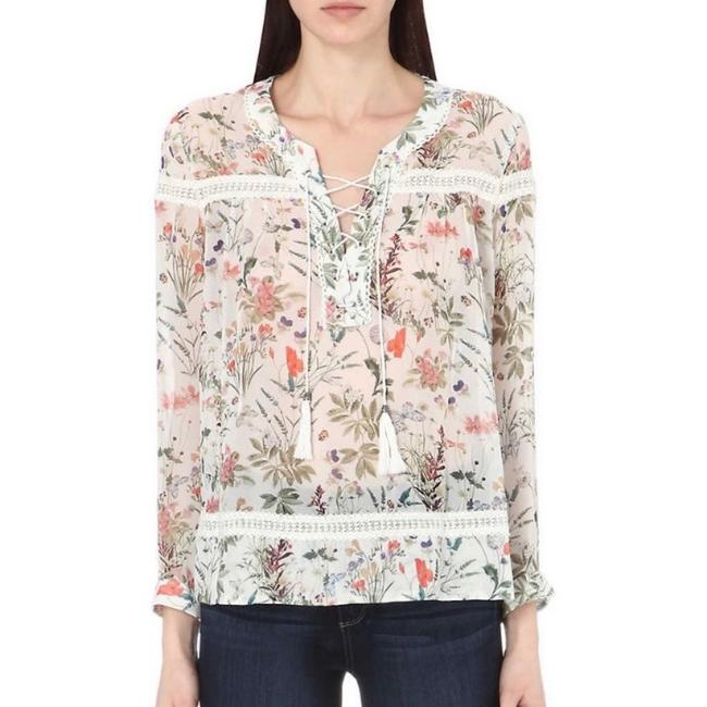 Item - Green White Floral Lace Up Blouse Size 8 (M)