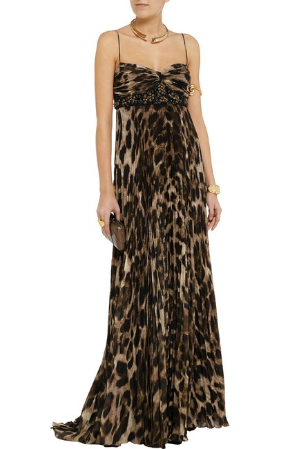Item - Brown Animal Collection Embellished Leopard Print Gown Long Formal Dress Size 4 (S)