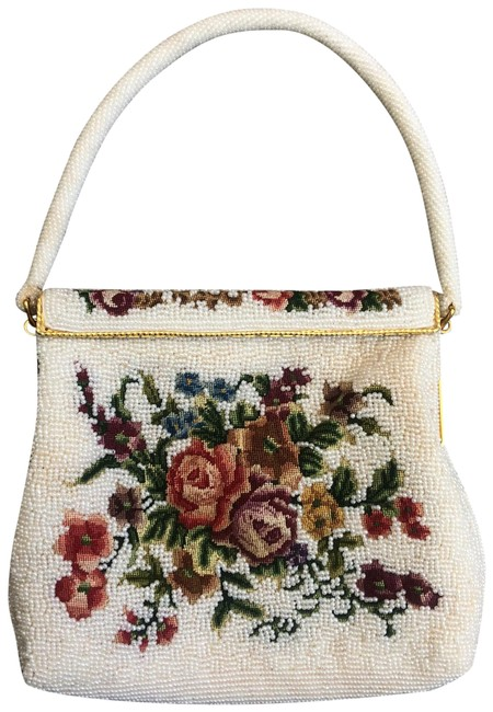 Item - Evening Bag Vintage Floral Embroidered Beaded White Multi Beads Baguette