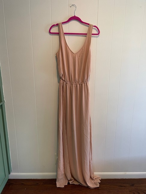 Item - Dusty Blush Crisp Polyester Kendall Casual Bridesmaid/Mob Dress Size 12 (L)
