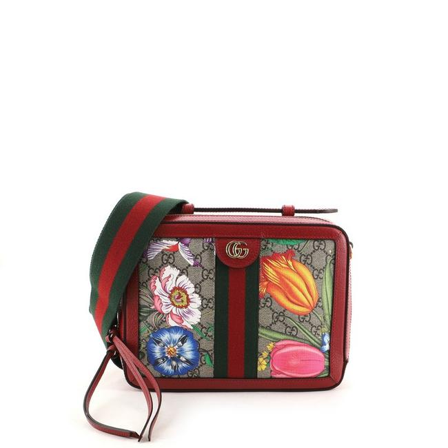 Item - Camera Ophidia Zip Around Flora Gg Coated Small Red Canvas Cross Body Bag