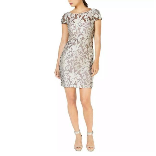 Item - Silver Gray Lace Mid-length Cocktail Dress Size 2 (XS)