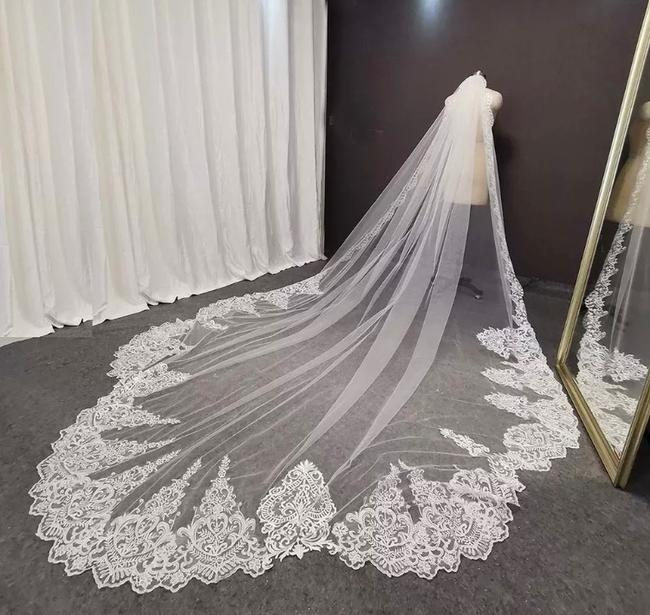 Item - Long White/Ivory 10-16ft Lace Appliqué Cathedral with Comb Bridal Veil