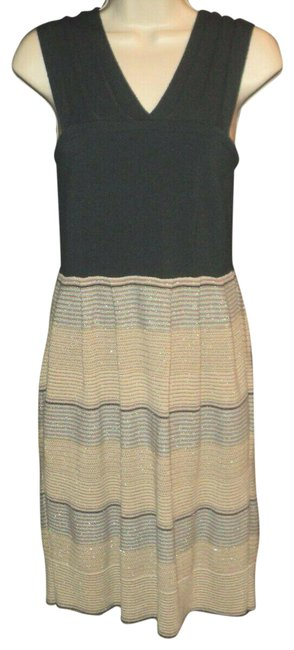 Item - Navy Tan Teal & Gold Jumper/Dress Above Knee Length Metallic Accented Skirt Short Casual Dress Size 2 (XS)