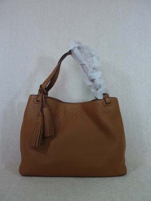 Tory Burch Thea Center Zip Bark Brown Leather Tote Tory Burch Thea Center Zip Bark Brown Leather Tote Image 2