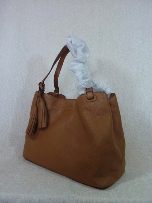 Tory Burch Thea Center Zip Bark Brown Leather Tote Tory Burch Thea Center Zip Bark Brown Leather Tote Image 3