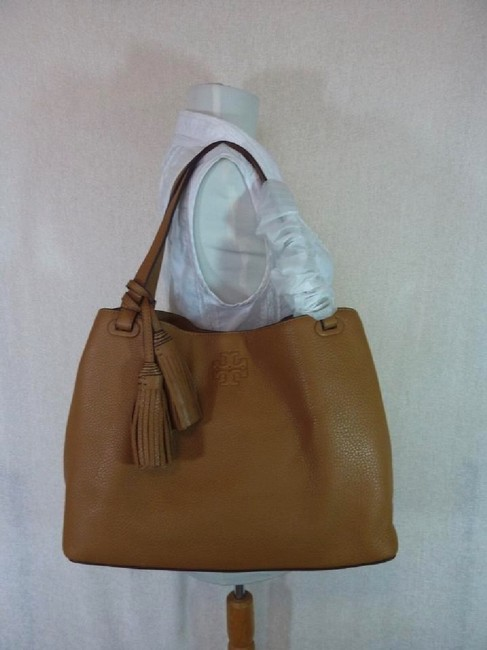 Tory Burch Thea Center Zip Bark Brown Leather Tote Tory Burch Thea Center Zip Bark Brown Leather Tote Image 7
