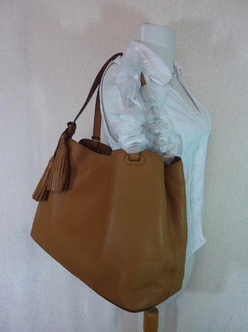 Tory Burch Thea Center Zip Bark Brown Leather Tote Tory Burch Thea Center Zip Bark Brown Leather Tote Image 9
