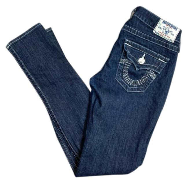 Item - Blue Dark Rinse Embroidered Skinny Jeans Size 27 (4, S)