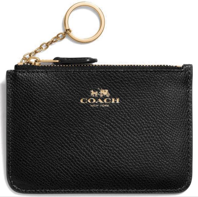 Item - Imitation/Black Key Pouch With Gusset In Crossgrain Leather Wallet