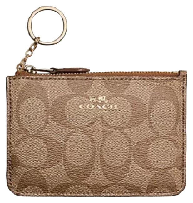 Item - Imitation Gold/Khaki/Saddle Key Pouch Signature Pvc with Gusset In Wallet