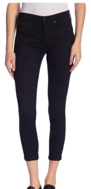 Item - Blue Black Dark Rinse Skinny Ankle Crop 31 Capri/Cropped Jeans Size 10 (M, 31)