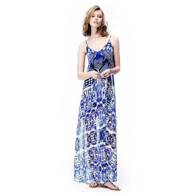 Item - Blue and White Scarf Print Boho Long Casual Maxi Dress Size 0 (XS)