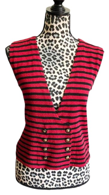 Item - Black with Red 1980s New York Vest Size 4 (S)