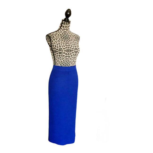 Item - Gray & Bright Blue Collection By Marie Long Knit Skirt Size 8 (M, 29, 30)