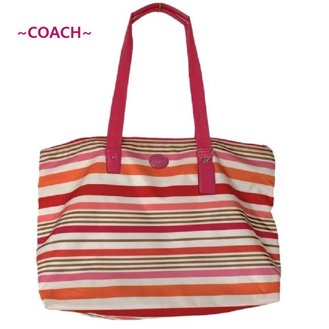 Item - Getaway Multicolor Stripe Packable Nylon Tote-(Tote On Pink-multicolor Nylon-patent Leather Weekend/Travel Bag
