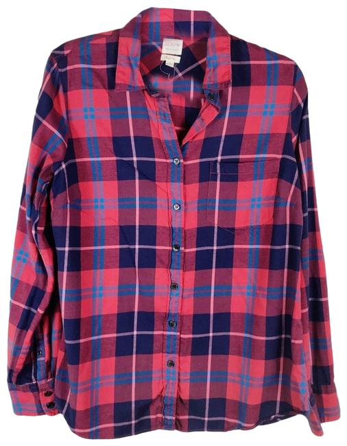 Item - Red The Perfect Fit Shirt Plaid Medium Navy & 30519 Button-down Top Size 8 (M)