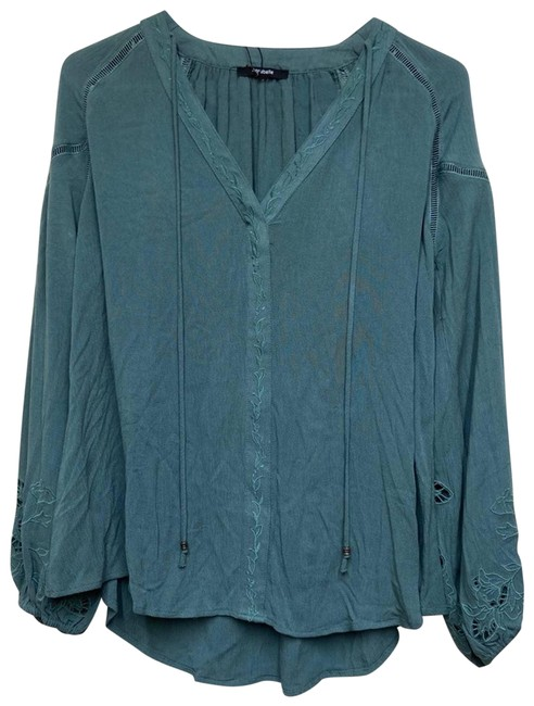 Item - Green Sage Peasant Embroidered Long Sleeve Small Blouse Size 4 (S)