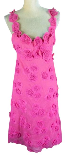 Item - Pink Collection Hot Embroidered Floral Mid-length Cocktail Dress Size 4 (S)