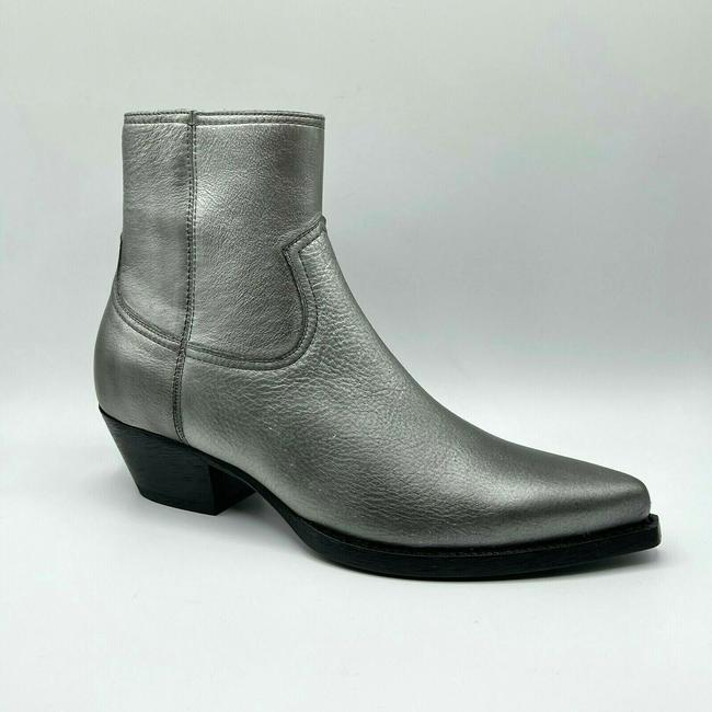 Item - Dark Silver Leather Heel Zip Up Ankle Boot 44.5/Us 11.5 579673 8105 Shoes