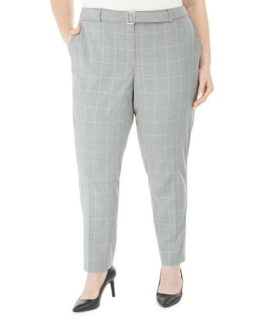 Item - Gray/White 22w Printed Belted Women Pants Size 22 (Plus 2x)