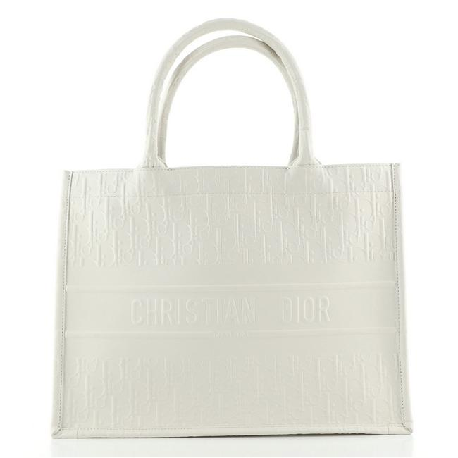Item - Book Oblique Embossed Calfskin Small White Leather Tote