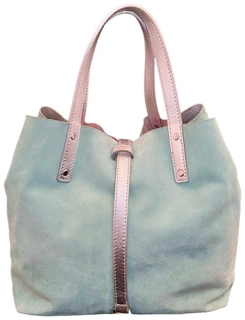 Item - Reversible Blue/Metallic Silver Suede Leather Tote