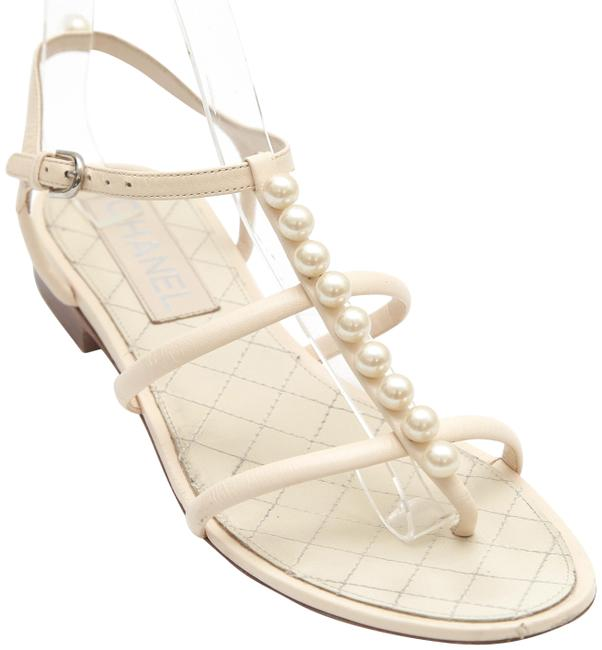 Item - Cream Leather Thong Slide Faux Pearls T-strap 38c Sandals Size EU 38 (Approx. US 8) Wide (C, D)